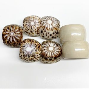 Vintage tiger leopard cowry shell napkin rings